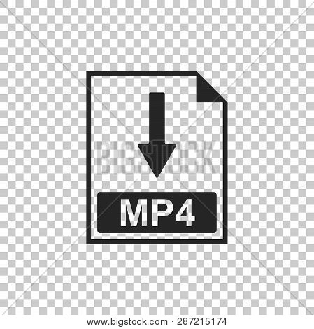 Mp4 File Document Icon. Download Mp4 Button Icon Isolated On Transparent Background. Flat Design. Ve