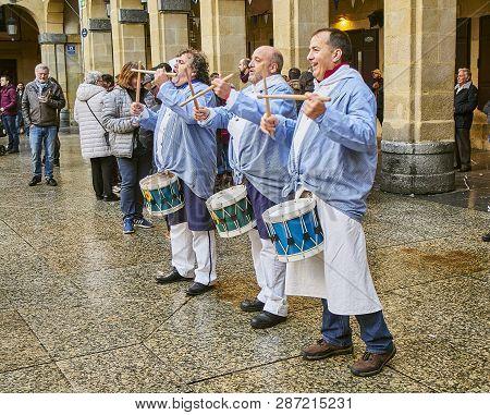 San Sebastian, Spain - January 20, 2019. Citizens Drumming At The Tamborrada, The Drum Parade To Cel