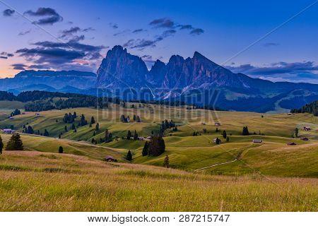 Sunrise In Beautiful Landscape Of Alpe Di Siusi - Seiser Alm In Dolomite, Italy