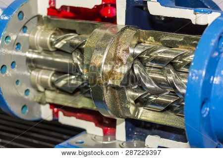 Close Up Cross Section Detail Inside Screw Vacuum Pump For Industrial