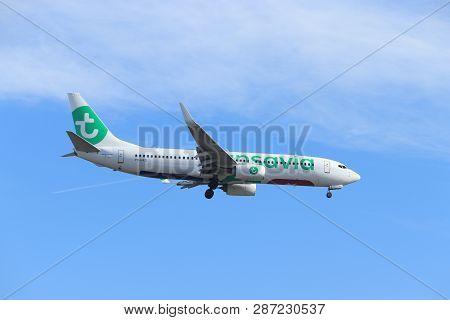Amsterdam, The Netherlands - February, 24th 2019: Ph-hxd Transavia Boeing 737 Approaching Polderbaan