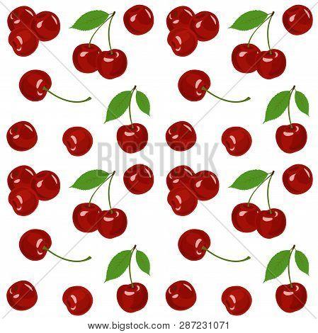 Cherry Raster Illustration. Cherry Background. Seamless Pattern.