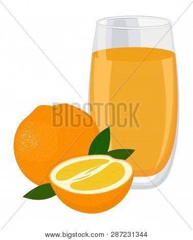 Orange Drink. Glass Of Orange Juice And Slices Of Orange Fruit. Raster Illustration On White Backgro
