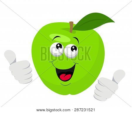 Cartoon Apple Character Giving Thumbs Up. Raster Illustration On White Background
