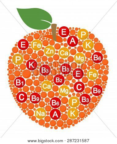 Vitamins And Minerals Of Apple. Infographics About Nutrients In Apple Fruit. Raster Illustration Abo