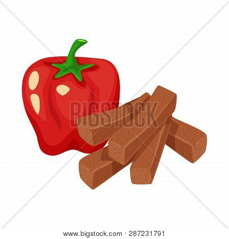 Isolated Object Of Croutons  And Bread Logo. Collection Of Croutons  And Red Vector Icon For Stock.