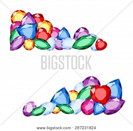 Gems. Colorful Collection Of Different Gemstones With Space For Text On White Background Amethyst, C