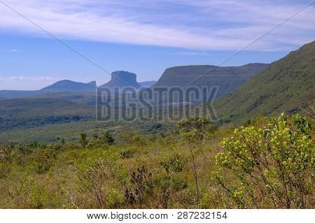 View Of The Chapada Diamantina Landscape In The Vale Do Capao Valley, With The Morro Do Morrao Mount