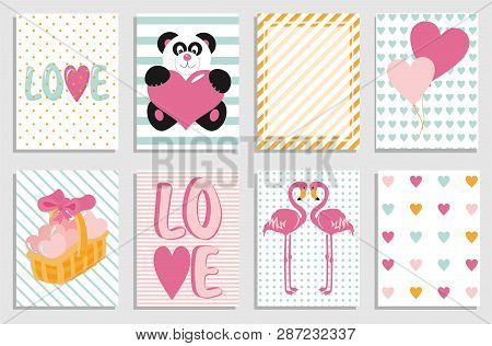 Collection Of Valentine Day Cards. Greeting Day Flyer Templates. Typography Poster, Card, Label, Des