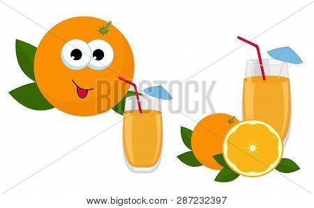 Orange Juice. Glass Of Orange Juice With Whole Orange And Slice Of Orange Fruit. Raster Illustration