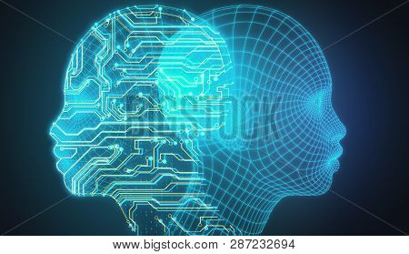 Digital Circuit Head On Dark Background. Artificial Intelligence And Data Concept. 3d Rendering