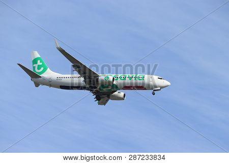 Amsterdam, The Netherlands - February, 24th 2019: Ph-hsa Transavia Boeing 737-800 Approaching Polder