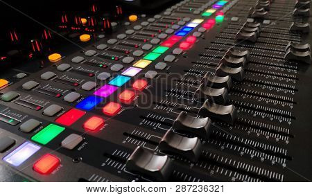 Music Console Background, Music Conceptual Photo Of A Professional Sound Device, Close View