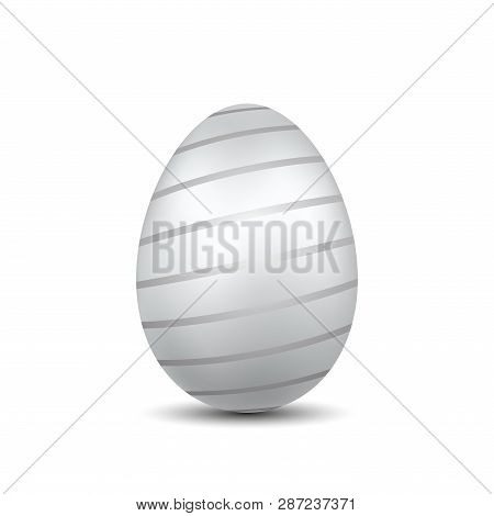 Easter Egg 3d Icon. Silver Color Egg, Isolated White Background. Bright Realistic Design, Decoration