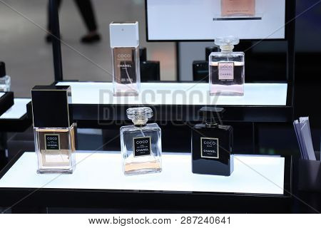 Haarlem, The Netherlands - July 8th 2018: Various Chanel Perfumes On Display In A Luxurious Departme
