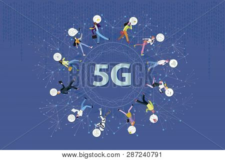 5g Network Wireless Systems Technology. Business People Walking Around A Circle In A Global Network.