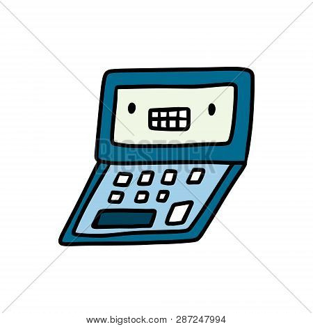 Computer With Face Hand Drawn Illustration In Kawaii Style