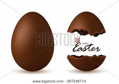 Easter Egg 3d. Chocolate Brown Whole And Broken Eggs Set Isolated White Background. Traditional Swee