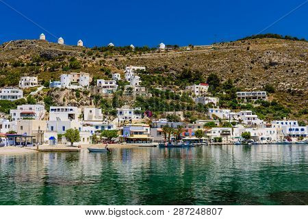 Leros Island, Greece - May 31, 2017: Panteli Village Is A Traditional Greek Village With White Build