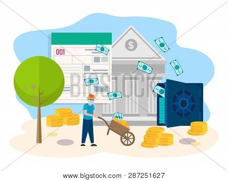 Pensioner receives a consumer loan from a Bank. The concept of wealth in obtaining credit, dividends. Vector illustration. poster