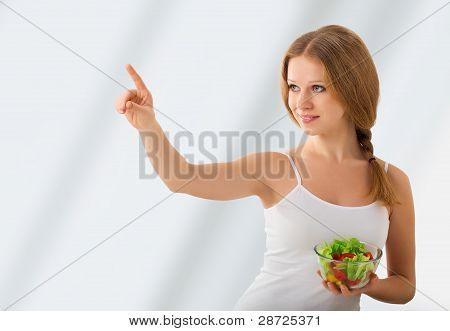 Beautiful Girl With A Salad Choose Healthy Food