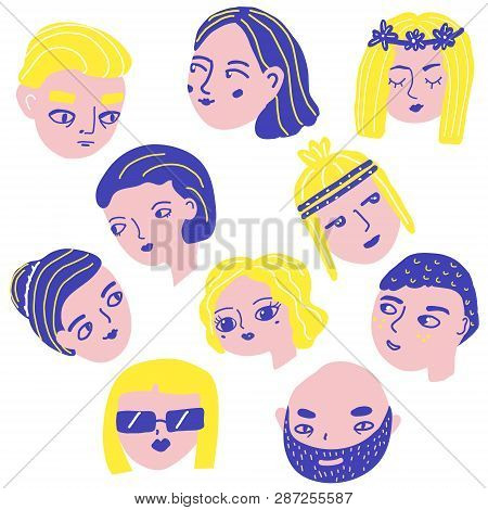 Doodle People Faces  Vector & Photo (Free Trial) | Bigstock