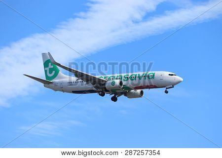 Amsterdam, The Netherlands - February, 24th 2019: Ph-hzl Transavia Boeing 737-800 Approaching Polder