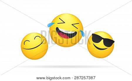 Three Laughing Emoticons Bright Vector Concept Illustration Of Smiling Emoji Icons For Chat, Messeng
