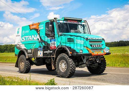 Chelyabinsk Region, Russia - July 10, 2017: Truck Iveco 4x4 Drnl No. 310 Of The Astana Motorsports T