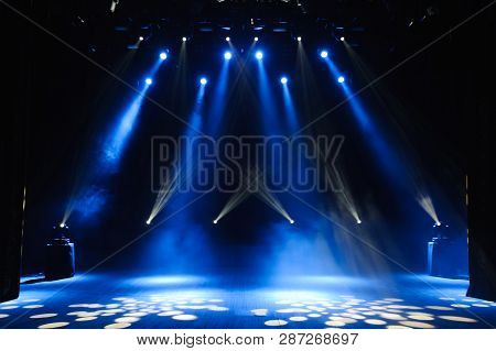 Free Stage With Lights, Background Of Empty Stage, Spotlight, Neon Light, Smoke.