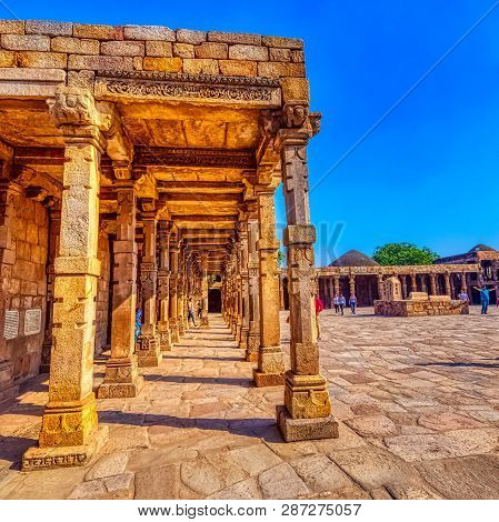 New Delhi, India - November 25: Ruined Quwwat Ul-islam Mosque Known As Might Of Islam At Qutub Minar