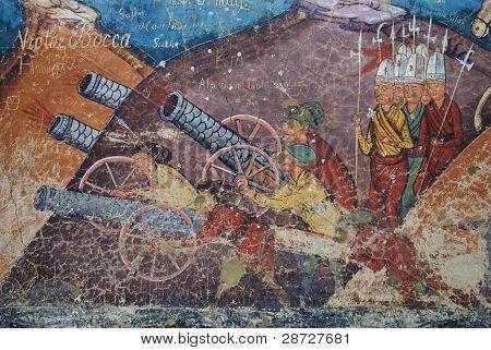 Moldovita, Siege of Constantinople fresco, particular