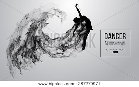 Abstract Silhouette Of A Dencing Girl, Woman, Ballerina On The White Background From Particles. Ball