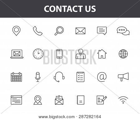 Set Of 24 Contact Us Web Icons In Line Style. Web And Mobile Icon. Chat, Support, Message, Phone. Ve