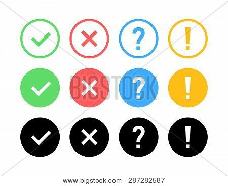 Check Mark Icon Set. Green Ok Or V Tick, Red X, Exclamation Mark, Question Mark. Approval Signs. Che