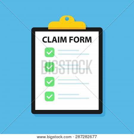 Clipboard Claim Form. Check List. Online Claim Form. Vector Illustration.