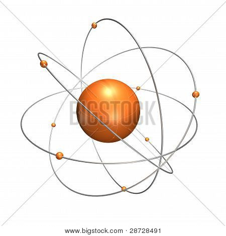 orange atom with chrome rings