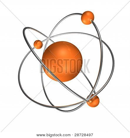 orange atom on grey background