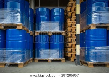 Toxic waste/chemicals stored in barrels at a plant - cans with chemicals, industry oil barrels, chemical tank, hazardous waste, chemical reagents, ecological concept