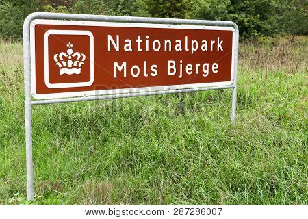 Road Sign With National Park Of Mols Bjerge In Denmark