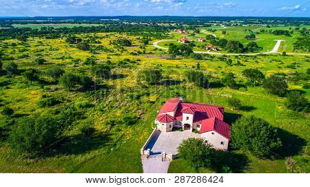 Mansion Home Spanish Old Historic Architecture On Green Open Landscape In Central Texas Wine Country