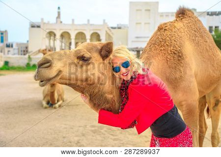 Happy blonde woman embraces a camel in Doha city center, near Souq Waqif, the old market, popular tourist in Al Souq District, Qatar. Caucasian tourist enjoys in Middle East of Arabian Peninsula. poster