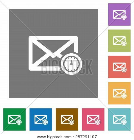 Queued Mail Flat Icons On Simple Color Square Backgrounds