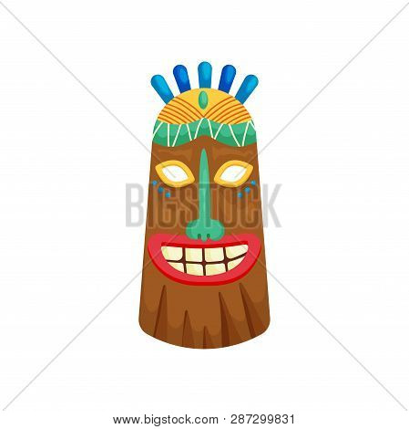 Decorated Mystical African Mask With Toothy Smile And Small Green Gemstone In Forehead
