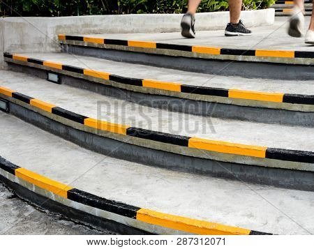 Yellow And Black Stripes, Safety Symbols At The Edge Of The Stairs