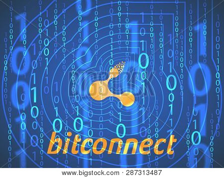 Banner, Poster Crypto Currency Symbol Bitconnect On Dark Blue Background. Stock Illustration. Crypto