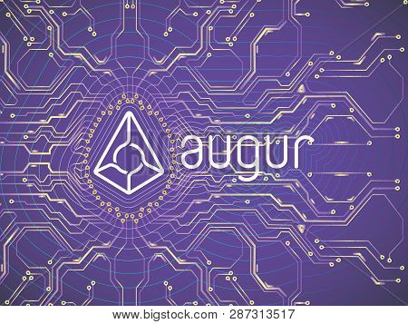 Banner, Poster Crypto Currency Symbol Augur On Dark Purple Background . Stock Illustration. Crypto C