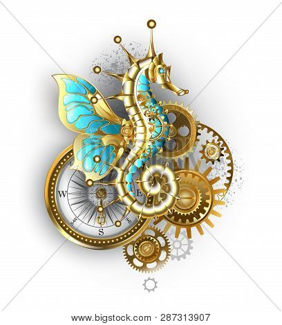 Composition From Mechanical Seahorse (hippocampus), Gears And An Antique Compass On White Background