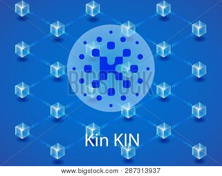 Banner, Poster Crypto Currency Symbol Kin On Blue Background. Stock Illustration.