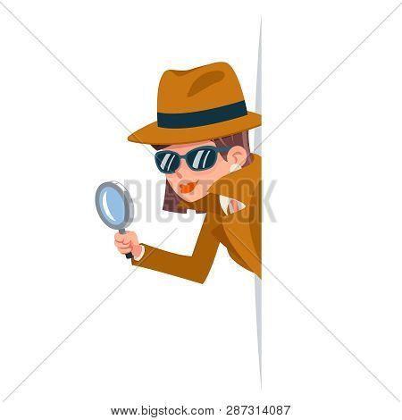 Cute Woman Snoop Detective Magnifying Glass Tec Peeking Out Corner Search Help Noir Female Cartoon C